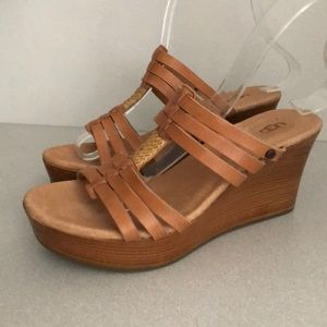 Ugg wedge sandals size 6M tan leather new